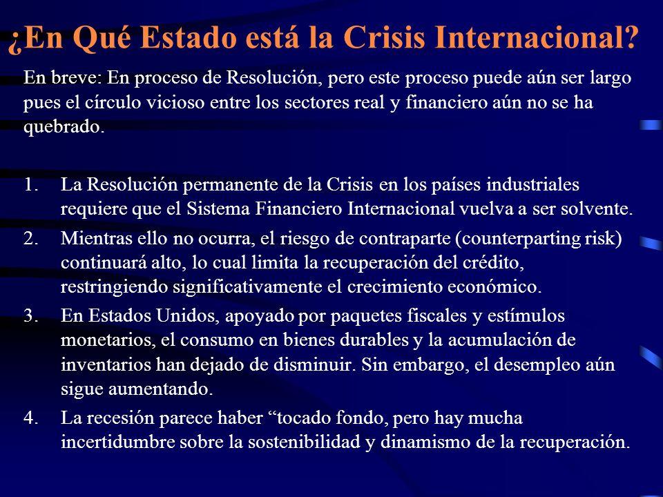 ¿En Qué Estado está la Crisis Internacional? En breve: En proceso de Resolución, pero este proceso puede aún ser largo pues el círculo vicioso entre l