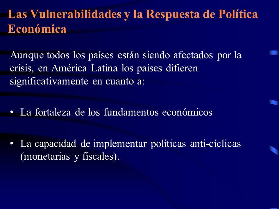 Las Vulnerabilidades y la Respuesta de Política Económica Aunque todos los países están siendo afectados por la crisis, en América Latina los países d