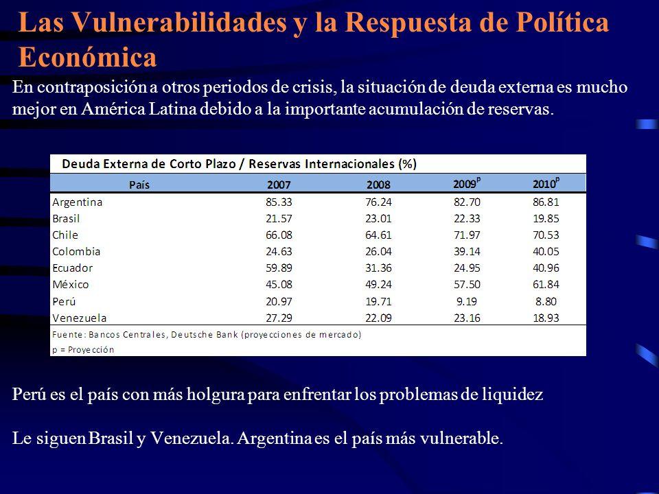En contraposición a otros periodos de crisis, la situación de deuda externa es mucho mejor en América Latina debido a la importante acumulación de res