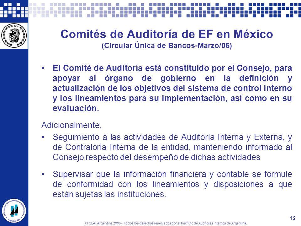 XI CLAI Argentina 2006 - Todos los derechos reservados por el Instituto de Auditores Internos de Argentina. 12 Comités de Auditoría de EF en México (C