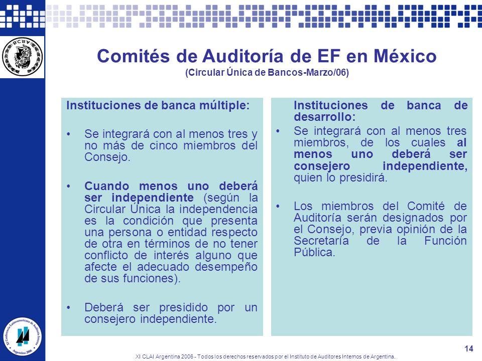 XI CLAI Argentina 2006 - Todos los derechos reservados por el Instituto de Auditores Internos de Argentina. 14 Comités de Auditoría de EF en México (C