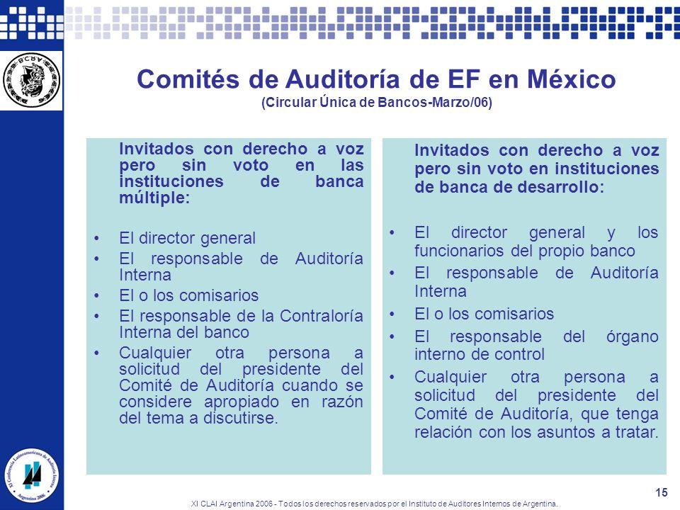XI CLAI Argentina 2006 - Todos los derechos reservados por el Instituto de Auditores Internos de Argentina. 15 Comités de Auditoría de EF en México (C