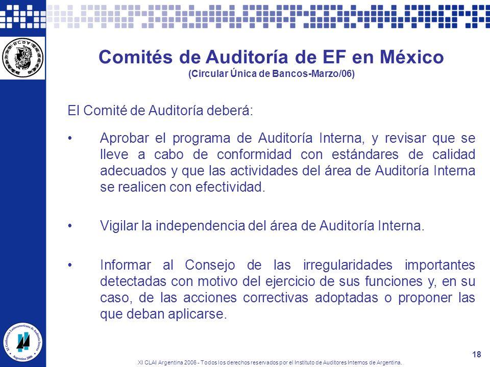 XI CLAI Argentina 2006 - Todos los derechos reservados por el Instituto de Auditores Internos de Argentina. 18 Comités de Auditoría de EF en México (C