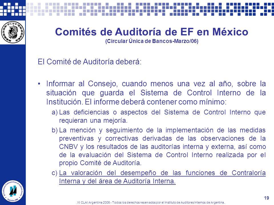 XI CLAI Argentina 2006 - Todos los derechos reservados por el Instituto de Auditores Internos de Argentina. 19 Comités de Auditoría de EF en México (C