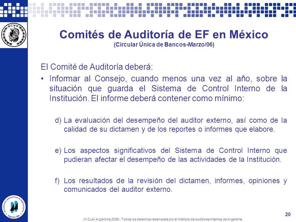 XI CLAI Argentina 2006 - Todos los derechos reservados por el Instituto de Auditores Internos de Argentina. 20 Comités de Auditoría de EF en México (C