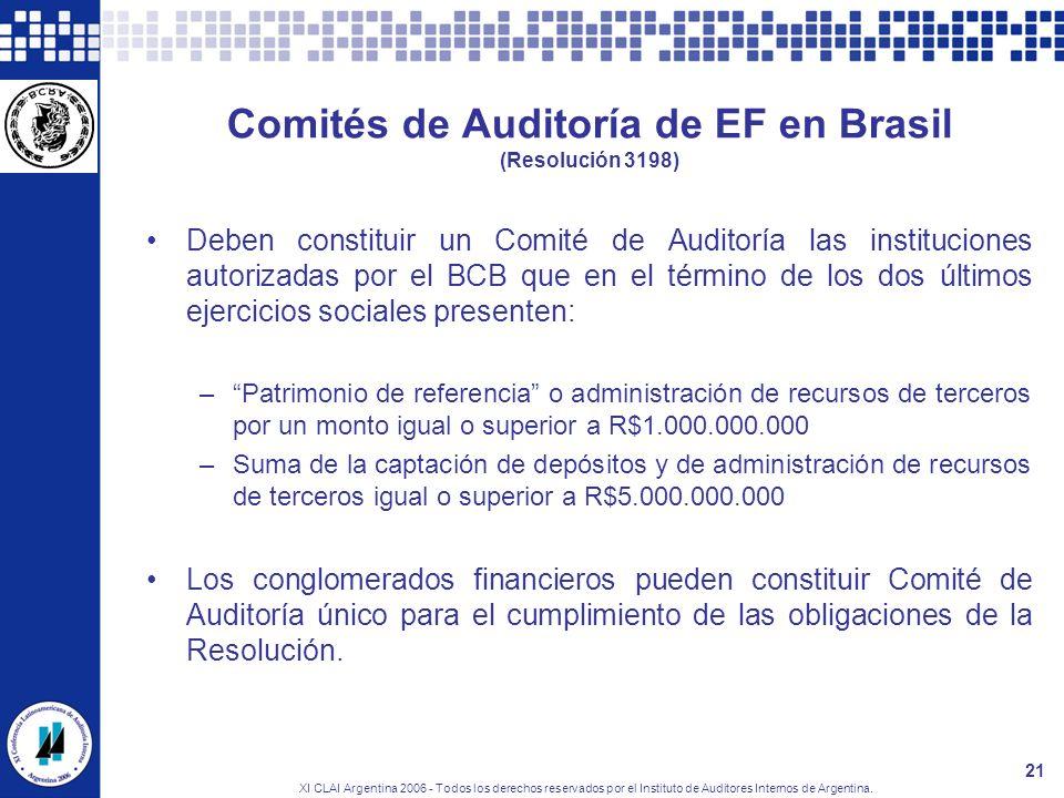 XI CLAI Argentina 2006 - Todos los derechos reservados por el Instituto de Auditores Internos de Argentina. 21 Comités de Auditoría de EF en Brasil (R