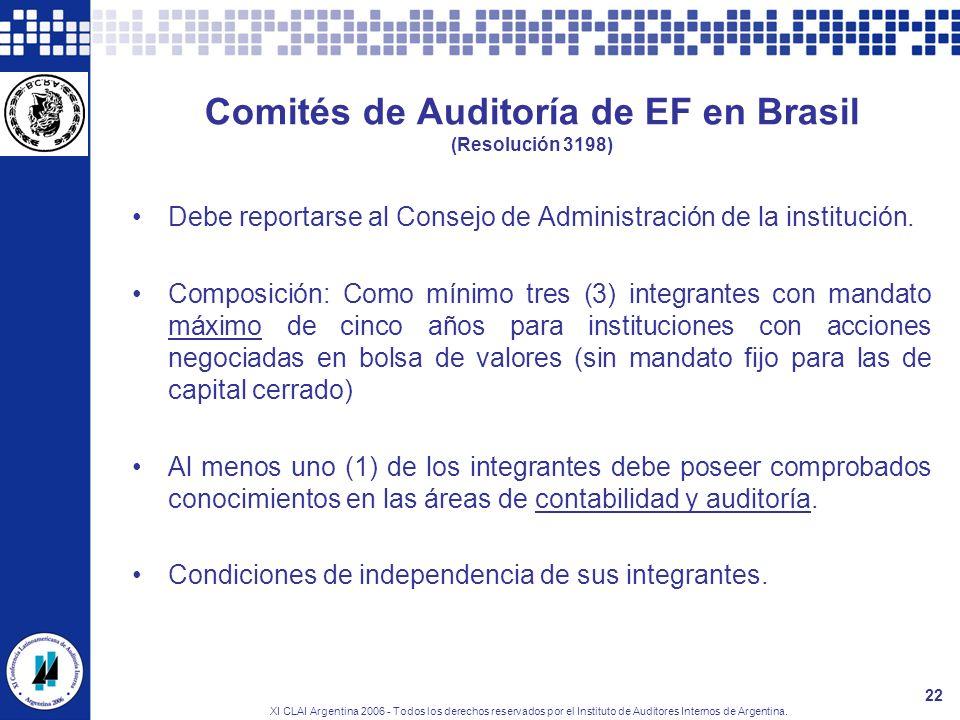 XI CLAI Argentina 2006 - Todos los derechos reservados por el Instituto de Auditores Internos de Argentina. 22 Comités de Auditoría de EF en Brasil (R
