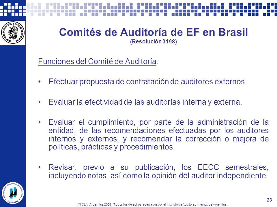 XI CLAI Argentina 2006 - Todos los derechos reservados por el Instituto de Auditores Internos de Argentina. 23 Comités de Auditoría de EF en Brasil (R