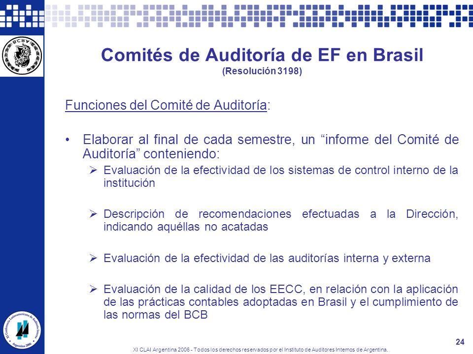XI CLAI Argentina 2006 - Todos los derechos reservados por el Instituto de Auditores Internos de Argentina. 24 Comités de Auditoría de EF en Brasil (R