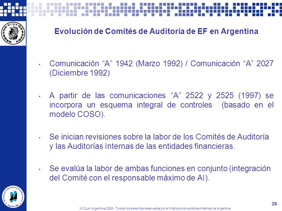 XI CLAI Argentina 2006 - Todos los derechos reservados por el Instituto de Auditores Internos de Argentina. 36 Evolución de Comités de Auditoría de EF