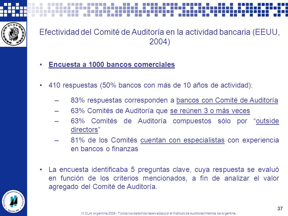 XI CLAI Argentina 2006 - Todos los derechos reservados por el Instituto de Auditores Internos de Argentina. 37 Efectividad del Comité de Auditoría en