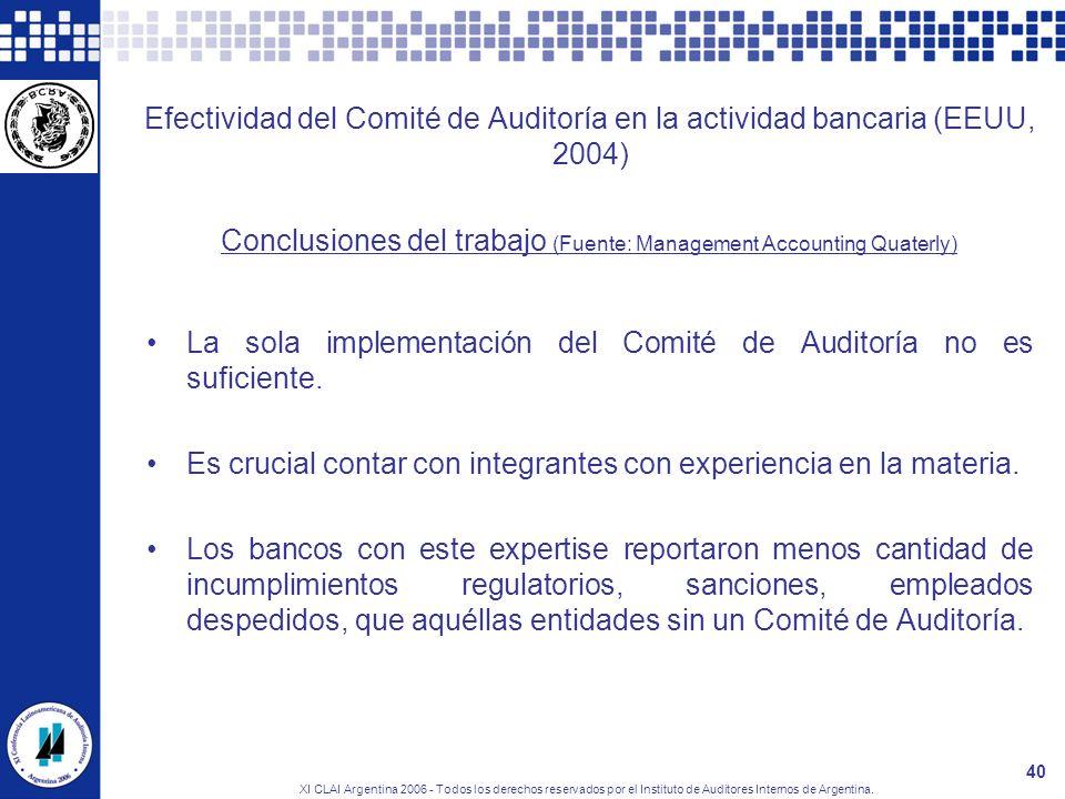 XI CLAI Argentina 2006 - Todos los derechos reservados por el Instituto de Auditores Internos de Argentina. 40 Efectividad del Comité de Auditoría en