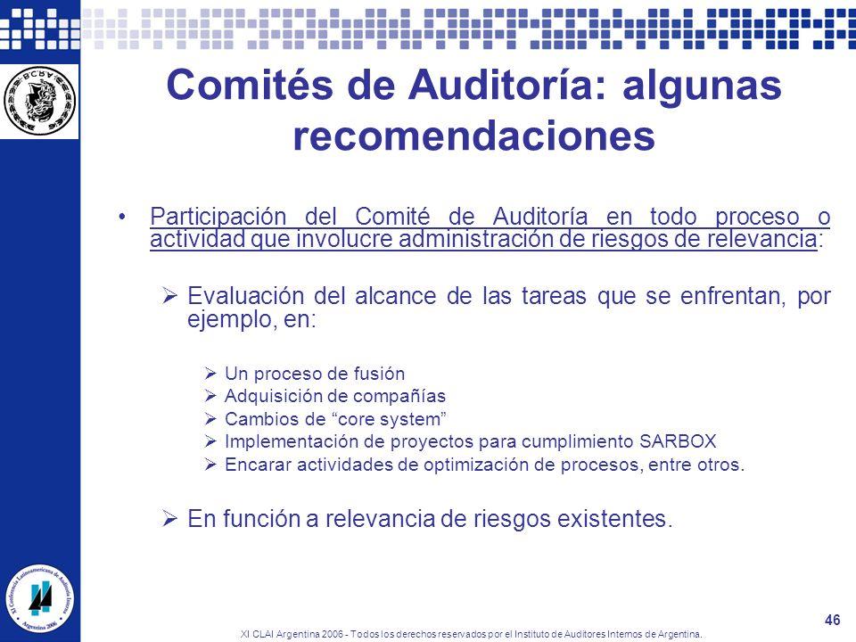 XI CLAI Argentina 2006 - Todos los derechos reservados por el Instituto de Auditores Internos de Argentina. 46 Comités de Auditoría: algunas recomenda
