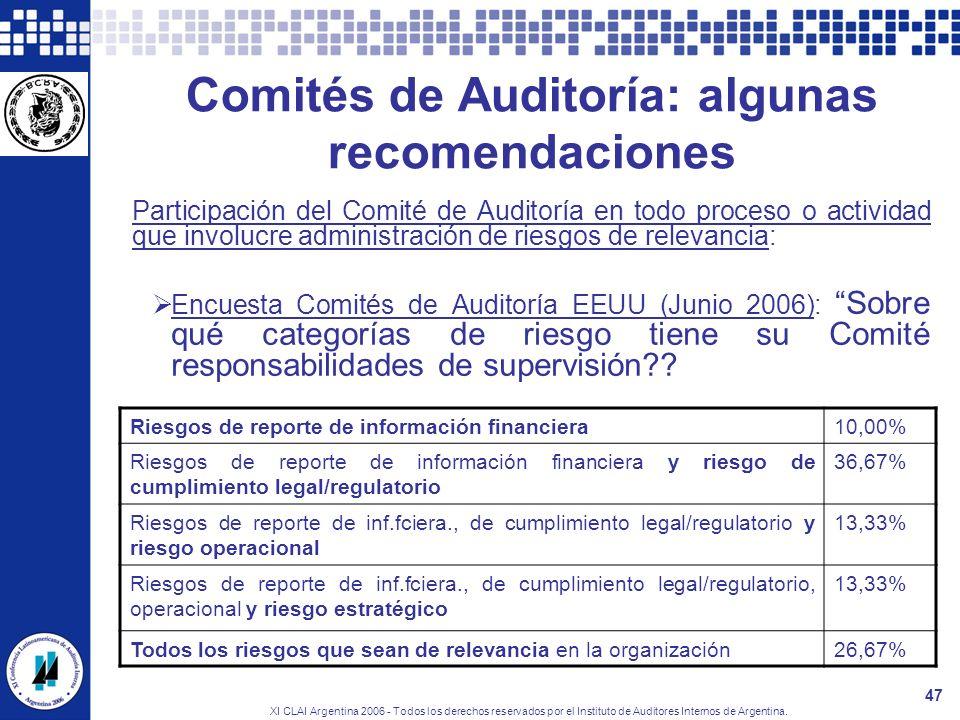 XI CLAI Argentina 2006 - Todos los derechos reservados por el Instituto de Auditores Internos de Argentina. 47 Comités de Auditoría: algunas recomenda