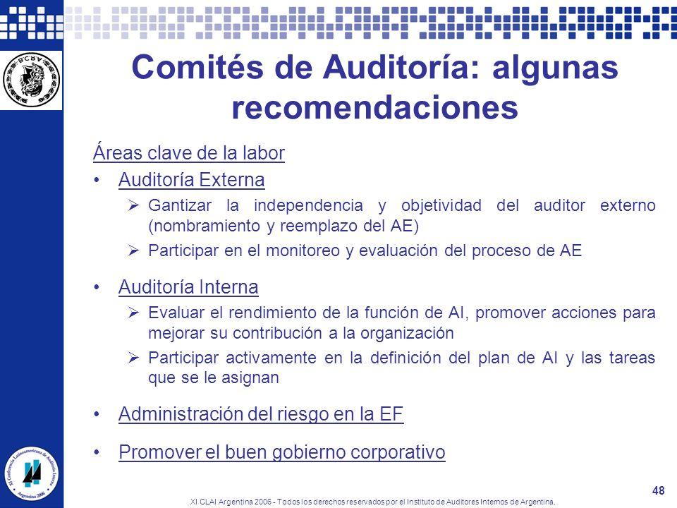 XI CLAI Argentina 2006 - Todos los derechos reservados por el Instituto de Auditores Internos de Argentina. 48 Comités de Auditoría: algunas recomenda