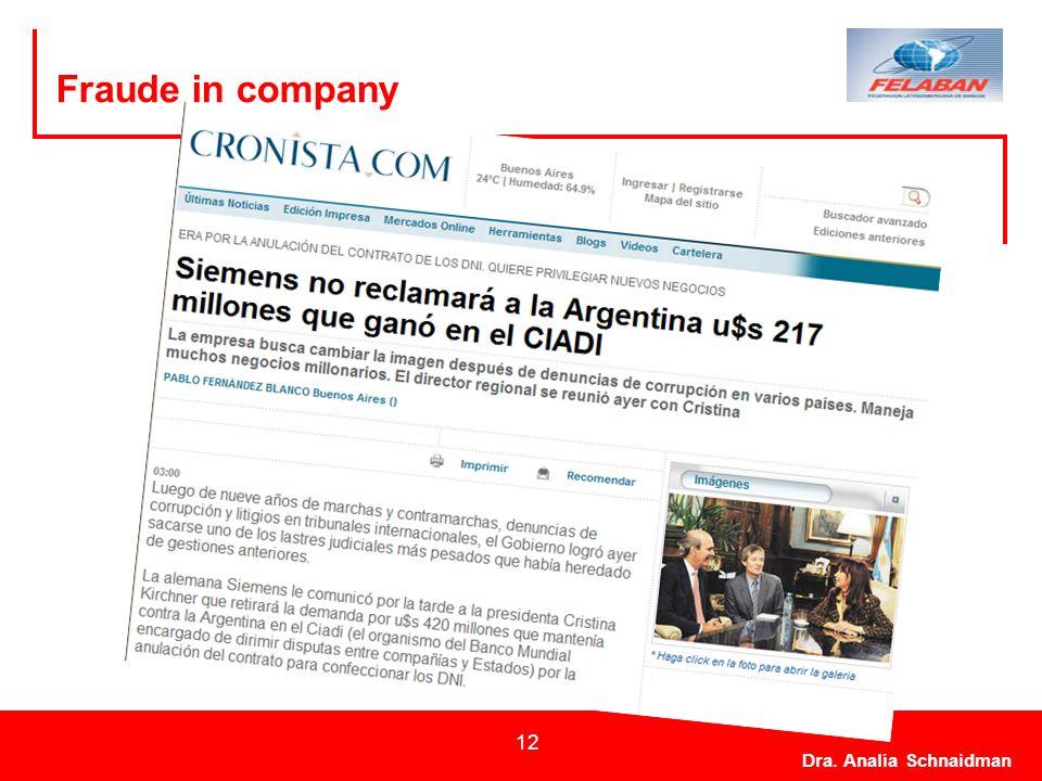 Dra. Analía Schnaidman 12 Fraude in company