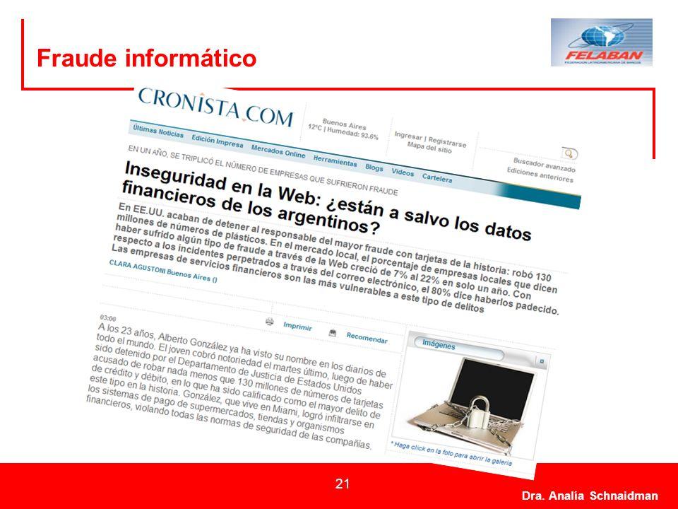 Dra. Analía Schnaidman 21 Fraude informático