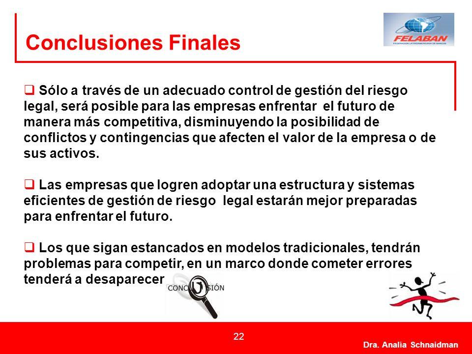 Dra. Analía Schnaidman 22 Conclusiones Finales Sólo a través de un adecuado control de gestión del riesgo legal, será posible para las empresas enfren