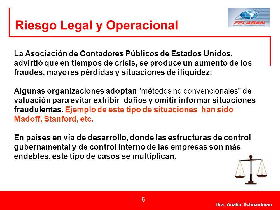 Dra. Analía Schnaidman 5 Riesgo Legal y Operacional La Asociación de Contadores Públicos de Estados Unidos, advirtió que en tiempos de crisis, se prod