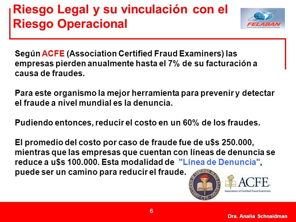 Dra. Analía Schnaidman 6 Riesgo Legal y su vinculación con el Riesgo Operacional Según ACFE (Association Certified Fraud Examiners) las empresas pierd