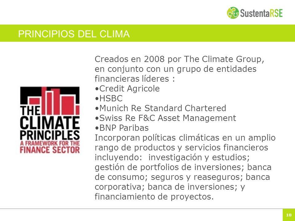 10 PRINCIPIOS DEL CLIMA Creados en 2008 por The Climate Group, en conjunto con un grupo de entidades financieras líderes : Credit Agricole HSBC Munich