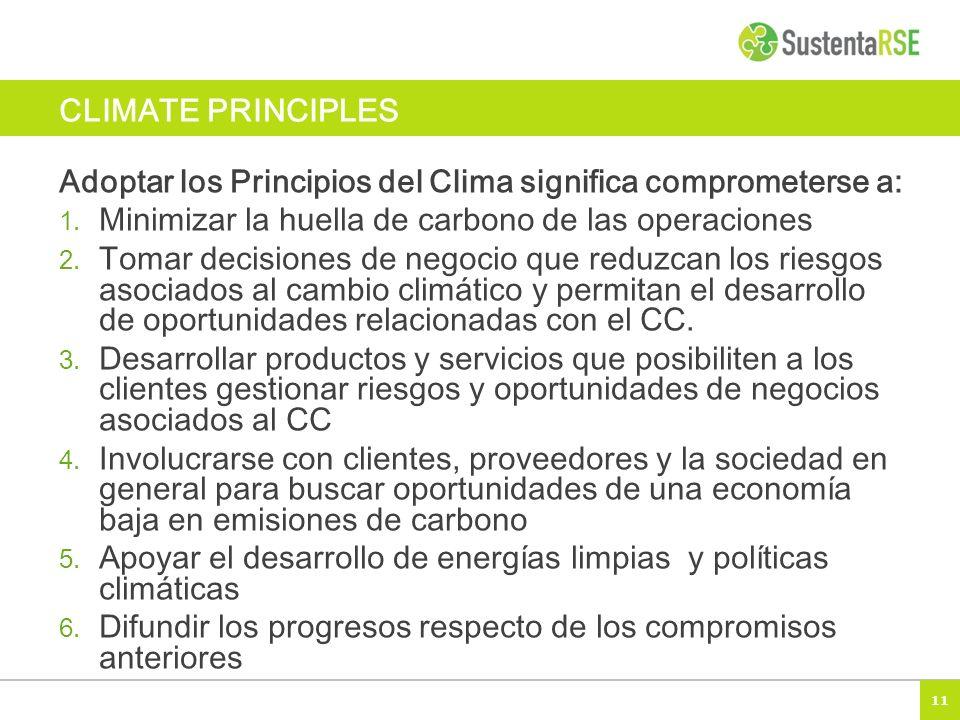 11 CLIMATE PRINCIPLES Adoptar los Principios del Clima significa comprometerse a: 1. Minimizar la huella de carbono de las operaciones 2. Tomar decisi