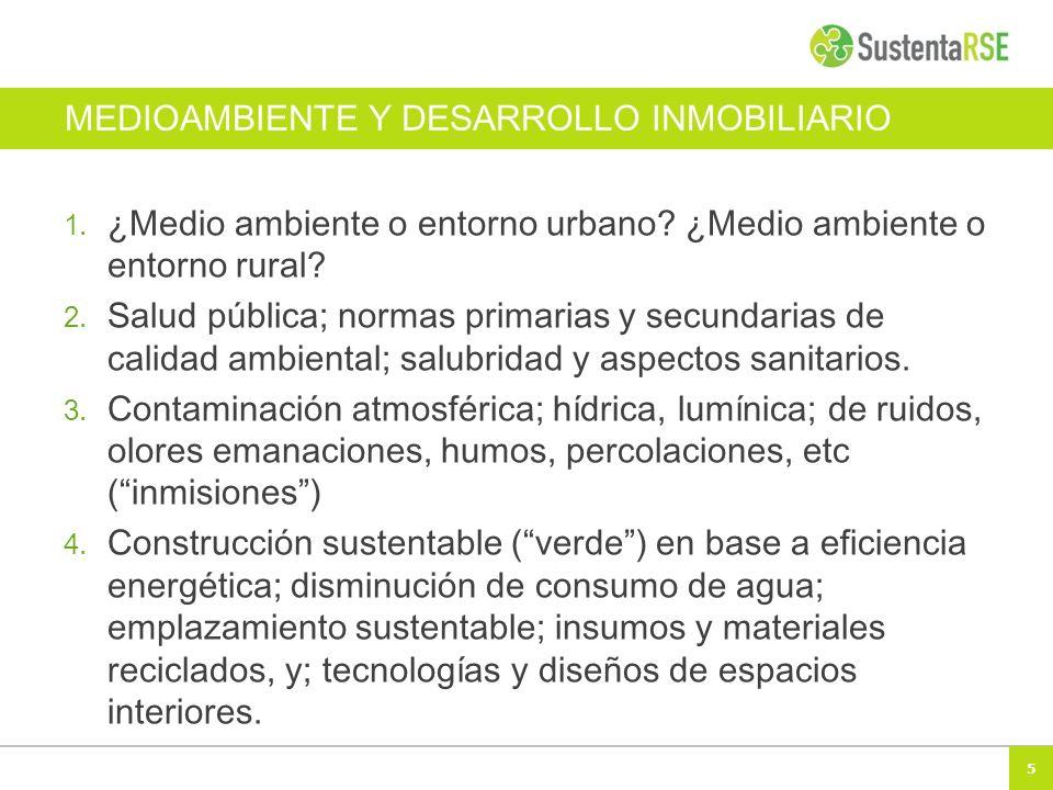5 MEDIOAMBIENTE Y DESARROLLO INMOBILIARIO 1. ¿Medio ambiente o entorno urbano? ¿Medio ambiente o entorno rural? 2. Salud pública; normas primarias y s