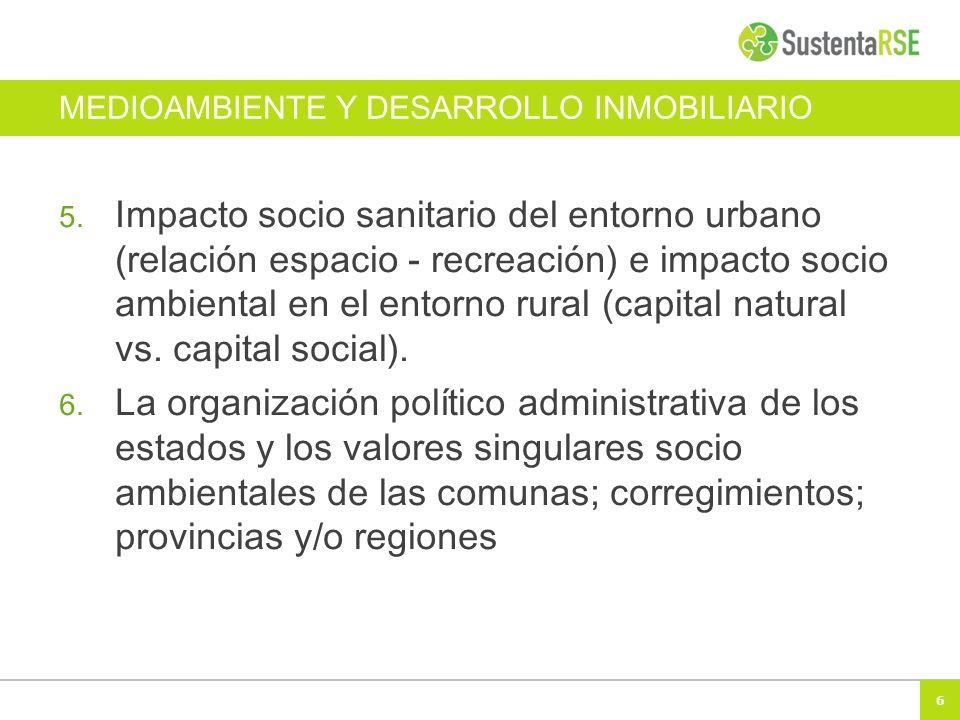 6 MEDIOAMBIENTE Y DESARROLLO INMOBILIARIO 5. Impacto socio sanitario del entorno urbano (relación espacio - recreación) e impacto socio ambiental en e