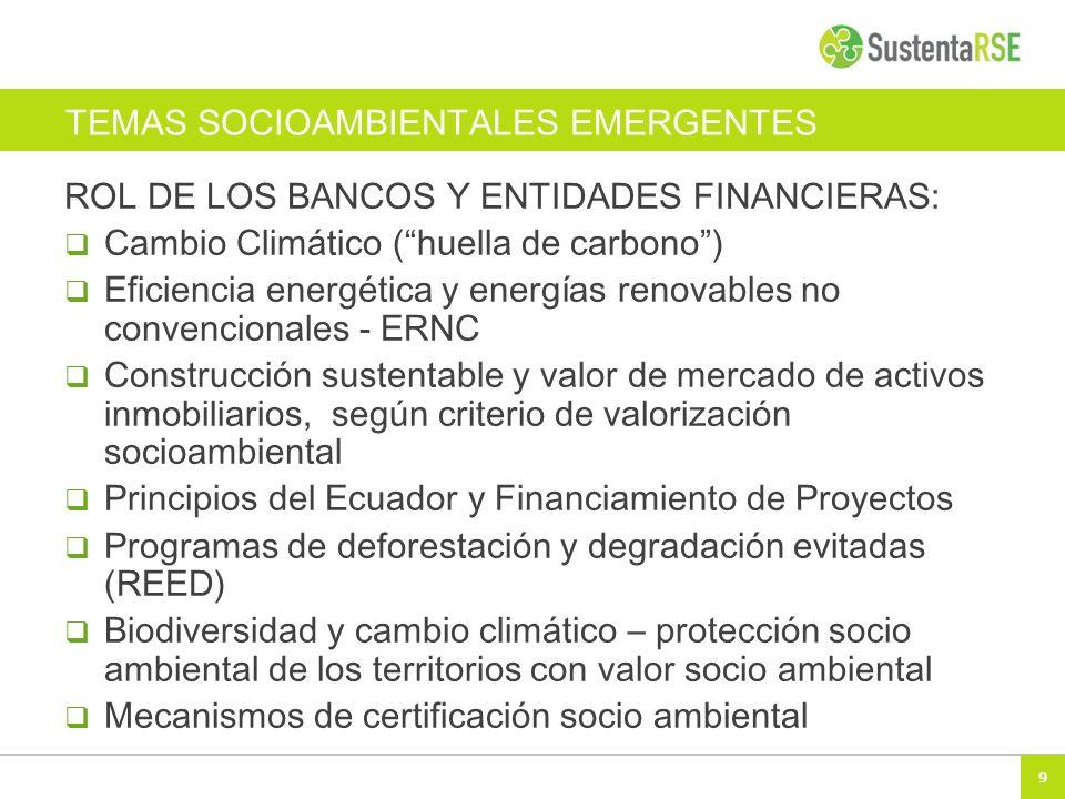 9 TEMAS SOCIOAMBIENTALES EMERGENTES ROL DE LOS BANCOS Y ENTIDADES FINANCIERAS: Cambio Climático (huella de carbono) Eficiencia energética y energías renovables no convencionales - ERNC Construcción sustentable y valor de mercado de activos inmobiliarios, según criterio de valorización socioambiental Principios del Ecuador y Financiamiento de Proyectos Programas de deforestación y degradación evitadas (REED) Biodiversidad y cambio climático – protección socio ambiental de los territorios con valor socio ambiental Mecanismos de certificación socio ambiental