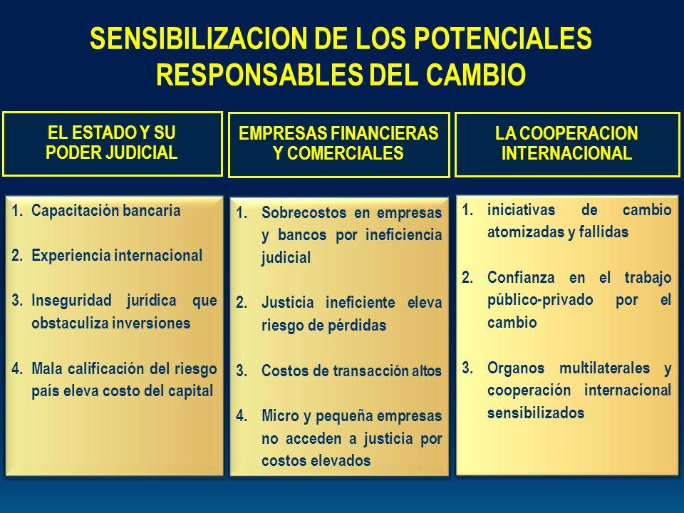 1.Capacitación bancaria 2.Experiencia internacional 3.Inseguridad jurídica que obstaculiza inversiones 4.Mala calificación del riesgo país eleva costo