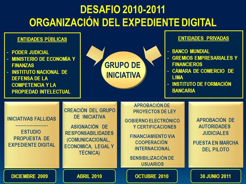 GRUPO DE INICIATIVA GRUPO DE INICIATIVA DESAFIO 2010-2011 ORGANIZACIÓN DEL EXPEDIENTE DIGITAL ENTIDADES PÚBLICAS - PODER JUDICIAL - MINISTERIO DE ECON