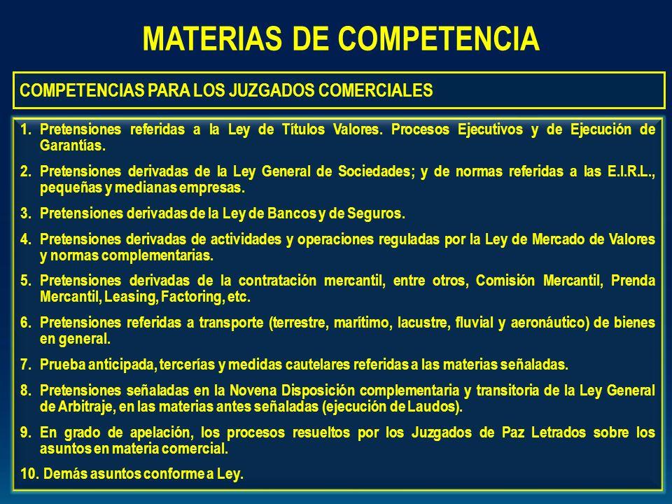 MATERIAS DE COMPETENCIA COMPETENCIAS PARA LOS JUZGADOS COMERCIALES 1.Pretensiones referidas a la Ley de Títulos Valores. Procesos Ejecutivos y de Ejec