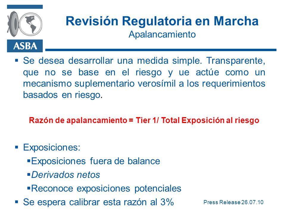 Revisión Regulatoria en Marcha Apalancamiento Se desea desarrollar una medida simple.