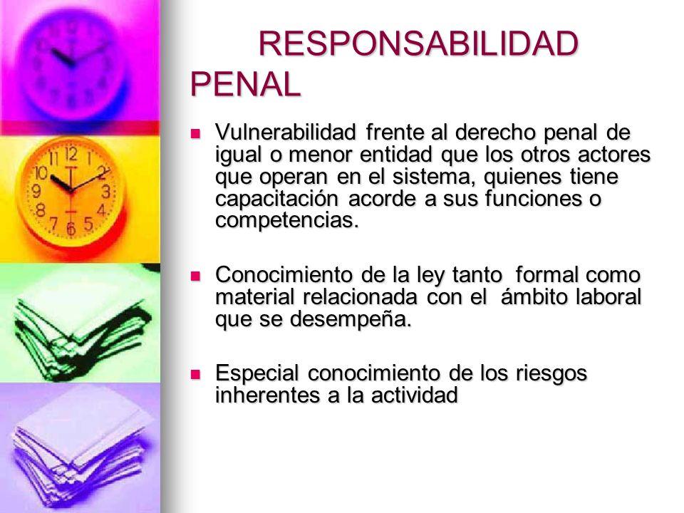 Responsabilidad Penal Principios generales Principios generales A menor vulnerabilidad mayor responsabilidad A menor vulnerabilidad mayor responsabili