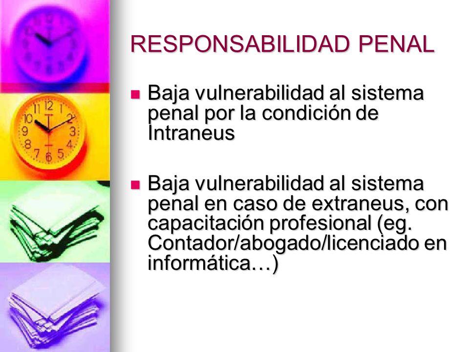 RESPONSABILIDAD PENAL Vulnerabilidad frente al derecho penal de igual o menor entidad que los otros actores que operan en el sistema, quienes tiene ca