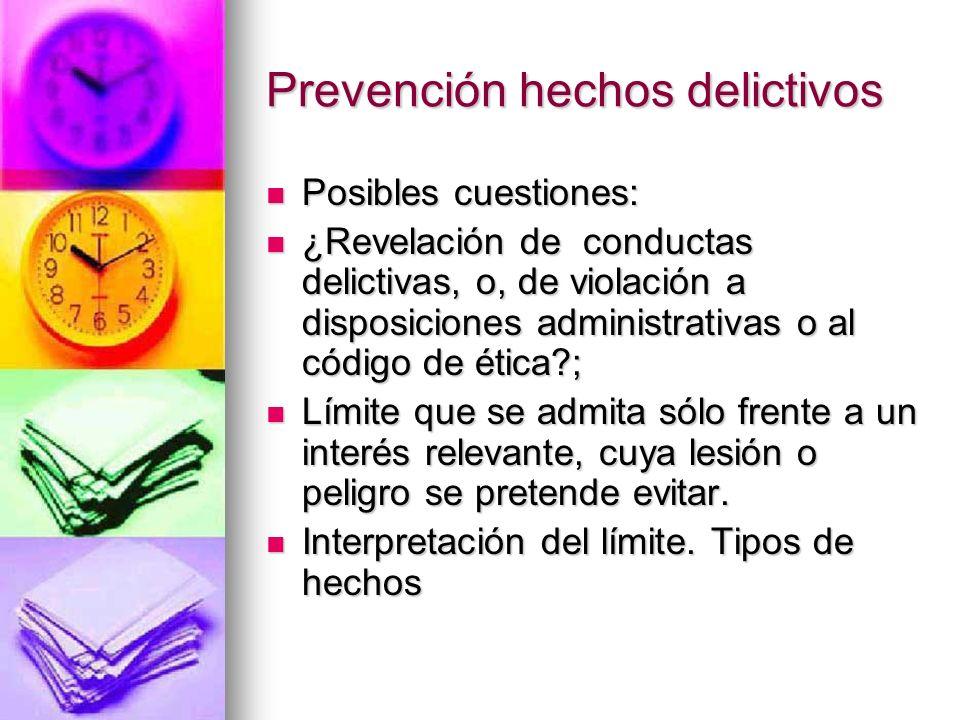 Prevención de hechos delictivos Sistema que permita recuperar el control social sobre las empresas u organizaciones Sistema que permita recuperar el c