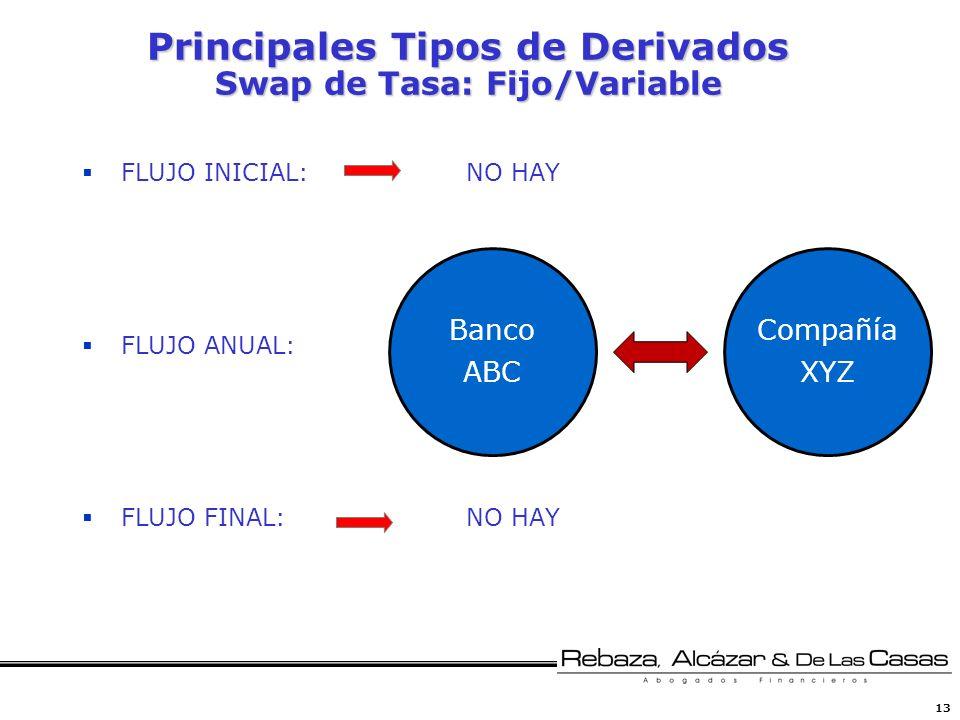 13 Principales Tipos de Derivados Swap de Tasa: Fijo/Variable FLUJO INICIAL:NO HAY FLUJO ANUAL: FLUJO FINAL:NO HAY Banco ABC Compañía XYZ