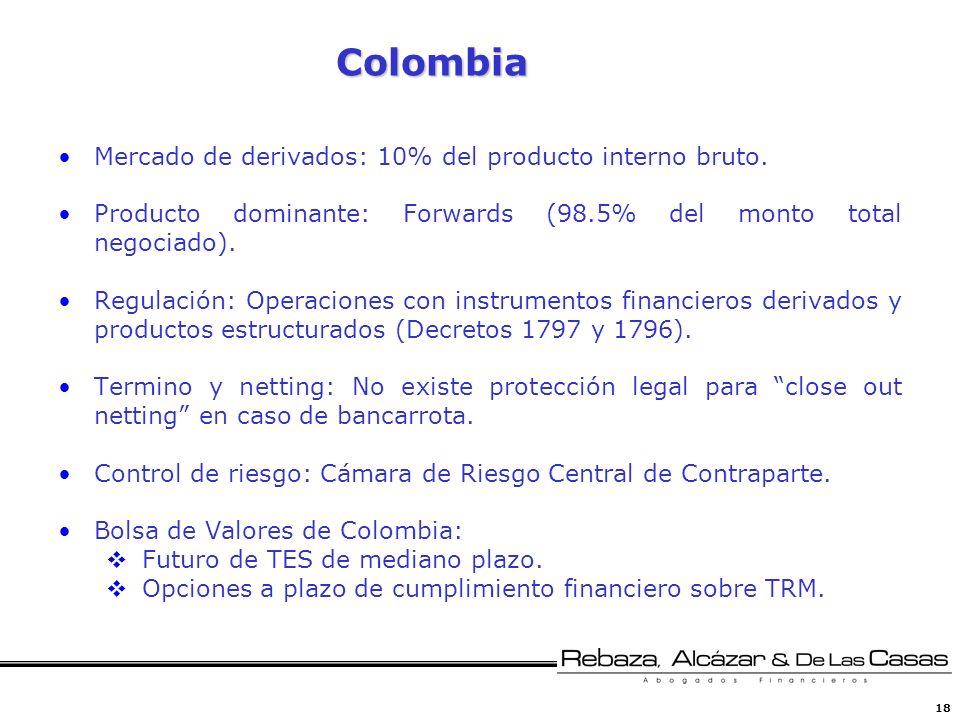 18 Colombia Mercado de derivados: 10% del producto interno bruto. Producto dominante: Forwards (98.5% del monto total negociado). Regulación: Operacio