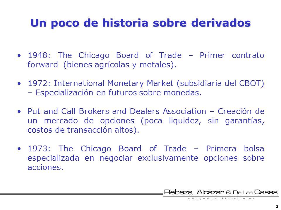 2 Un poco de historia sobre derivados 1948: The Chicago Board of Trade – Primer contrato forward (bienes agrícolas y metales). 1972: International Mon