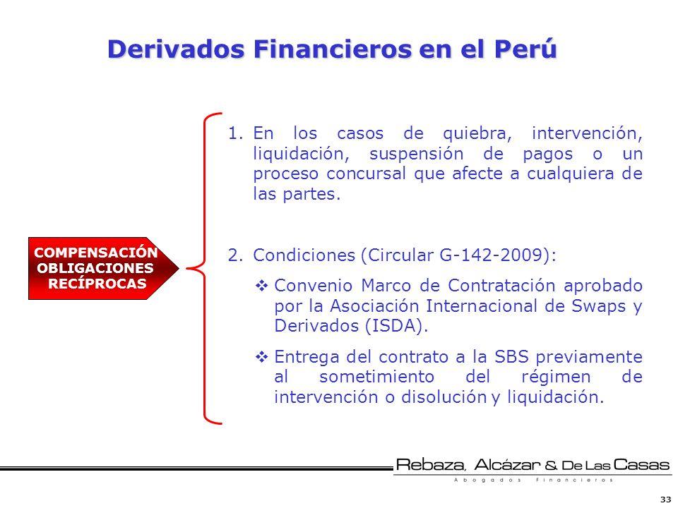 33 Derivados Financieros en el Perú Derivados Financieros en el Perú 1.En los casos de quiebra, intervención, liquidación, suspensión de pagos o un pr