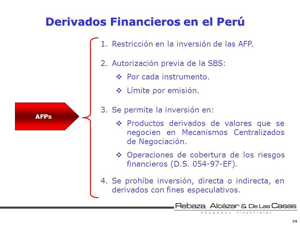 34 Derivados Financieros en el Perú 1.Restricción en la inversión de las AFP. 2.Autorización previa de la SBS: Por cada instrumento. Límite por emisió