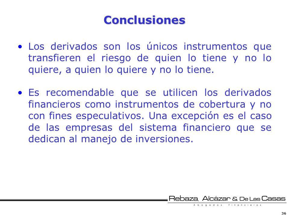 36 Conclusiones Los derivados son los únicos instrumentos que transfieren el riesgo de quien lo tiene y no lo quiere, a quien lo quiere y no lo tiene.