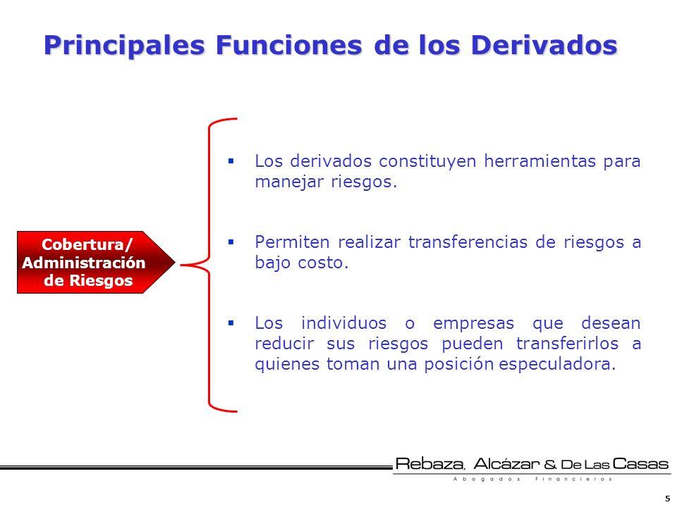 5 Principales Funciones de los Derivados Los derivados constituyen herramientas para manejar riesgos. Permiten realizar transferencias de riesgos a ba