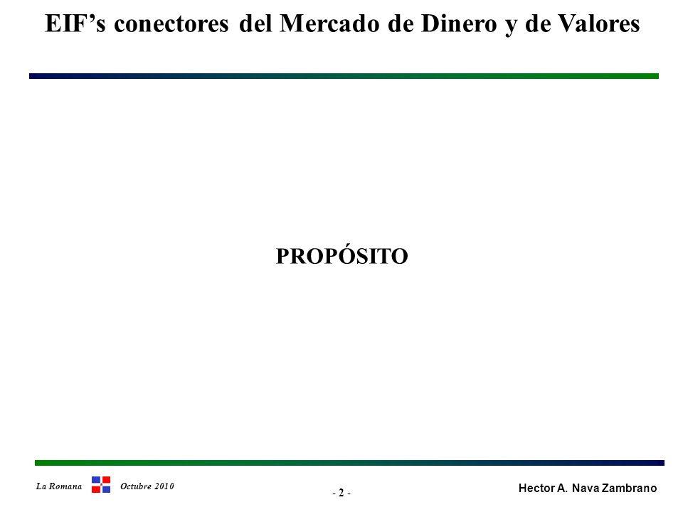 - 13 - Tratamiento Típico del Riesgo de Crédito en los Sectores del Mercado Financiero Parámetros de diferenciación (cont.) Tratamiento del riesgo de crédito (cont.) EIFs conectores del Mercado de Dinero y de Valores Bordes del Mercado de Valores Hector A.