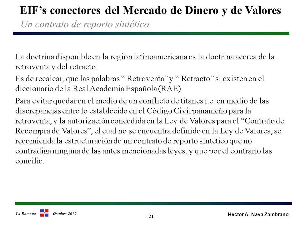 - 21 - EIFs conectores del Mercado de Dinero y de Valores Hector A.