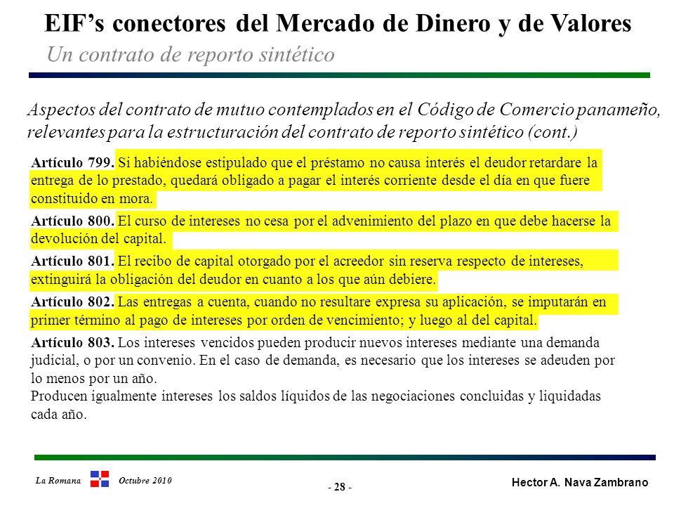 - 28 - EIFs conectores del Mercado de Dinero y de Valores Hector A.