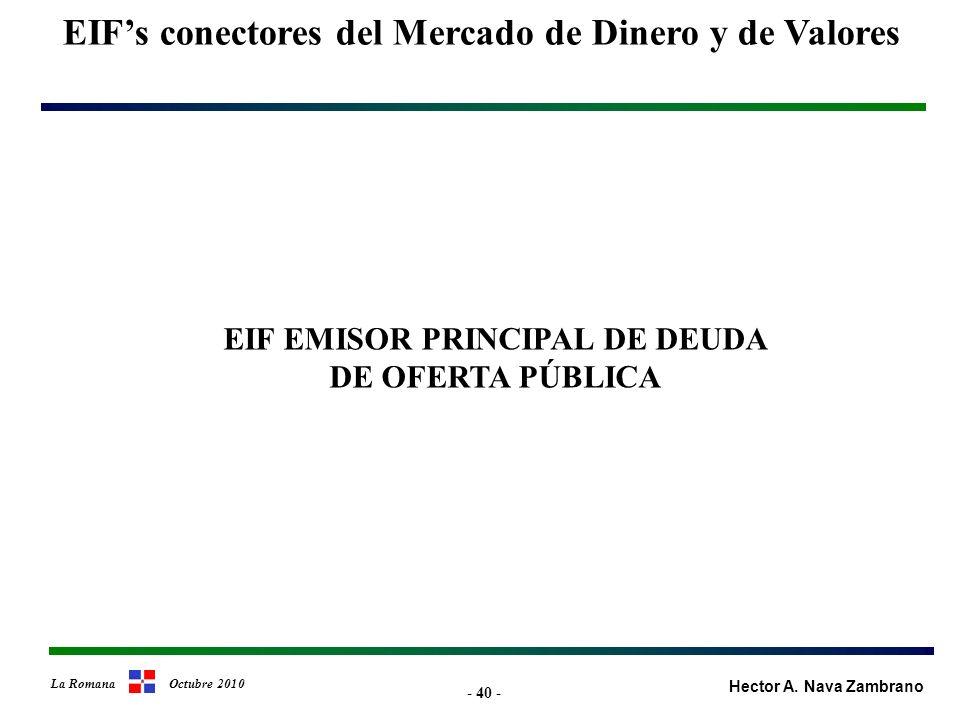 - 40 - EIFs conectores del Mercado de Dinero y de Valores Hector A.