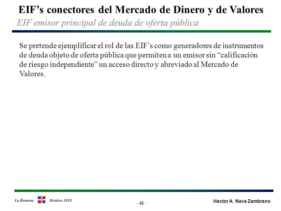 - 41 - EIFs conectores del Mercado de Dinero y de Valores Hector A.