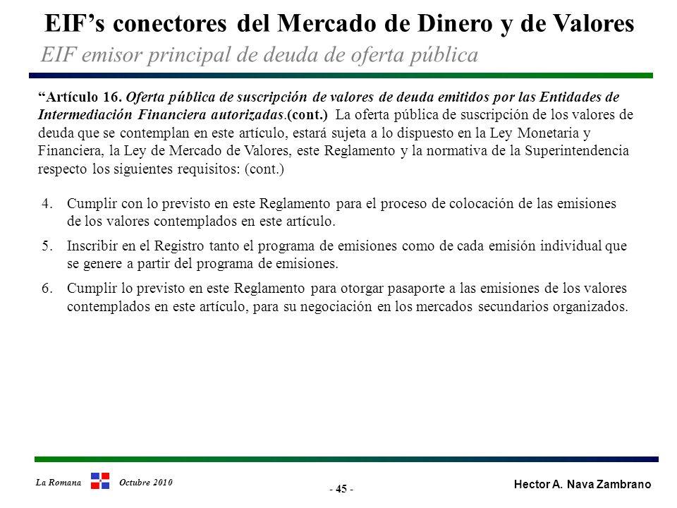 - 45 - EIFs conectores del Mercado de Dinero y de Valores Hector A.