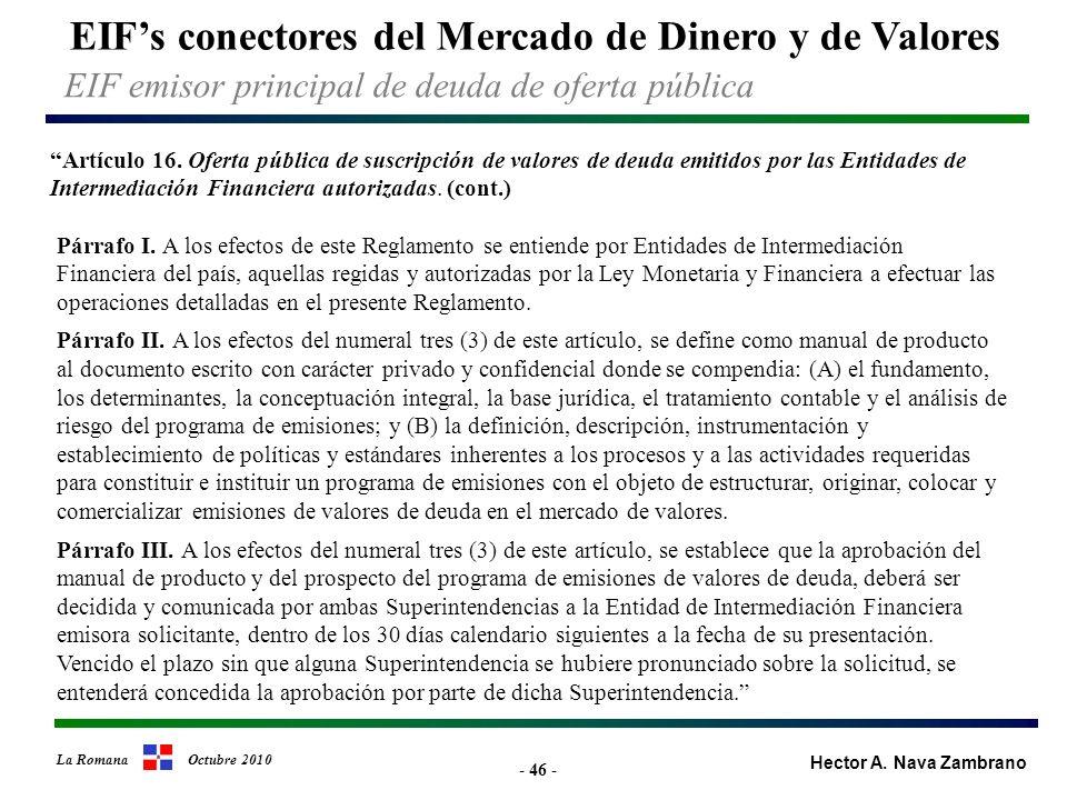 - 46 - EIFs conectores del Mercado de Dinero y de Valores Hector A.